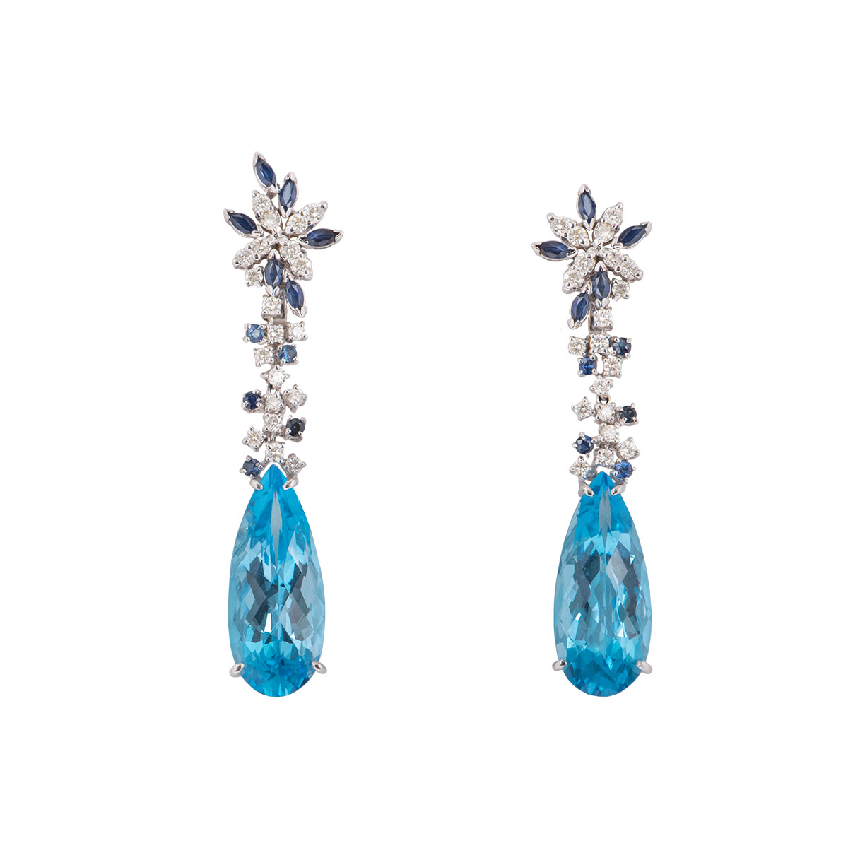 White Gold Blue Topaz, Sapphire And Diamond Earrings